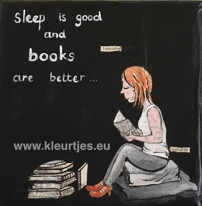 Mini Canvas: Sleep is good and books are better image 0