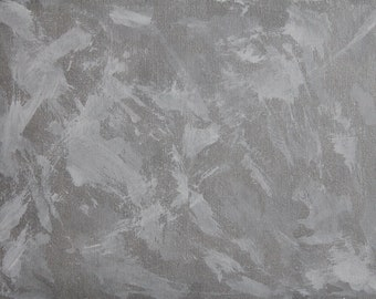 No.18 [White and Silver Abstract Painting]