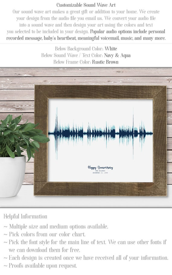 Sw01 Sound Wave Art Personalize Audio Recording Unique Etsy
