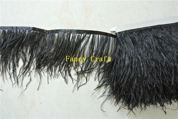 Ostrich Feather Dyed Fringe 1 Yard Trim Black Home Deco Craft DIY Craft Supplies