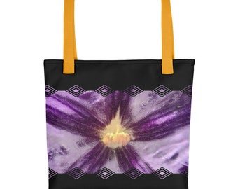 Purple flower and Yellow petols Black Tote bag