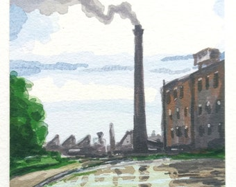 Canalside Mill - Aceo miniature - print of digital watercolour - watercolor