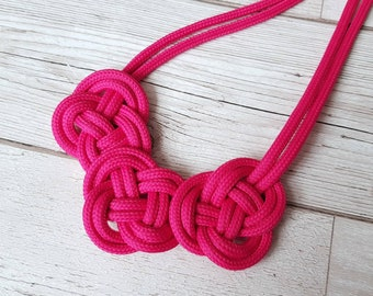 Blue pink necklace Statement bold necklace Knotted blue and pink necklace Navy blue necklace Blue cords necklace Knotted necklace