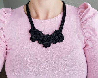 Statement necklace for women, Chunky necklace, Black necklace,  Rope necklace, Fiber necklace, Textile jewellery, Woman's gift