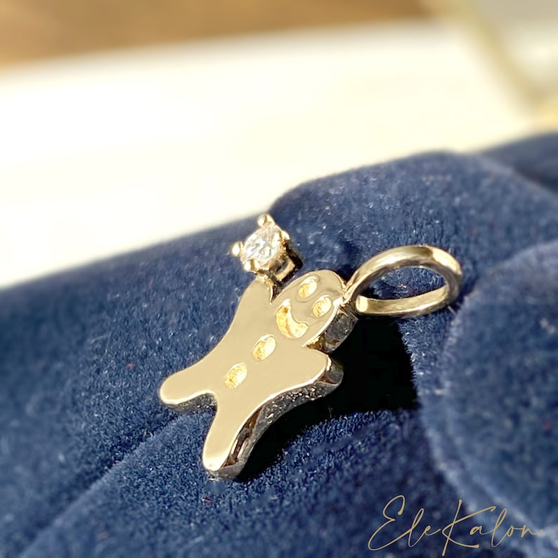 Art Deco Solid 0.03ct 14kt White Gold Diamond Pendant 1 Key