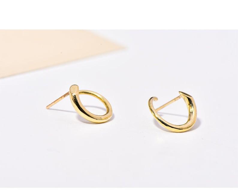 round stud earrings swirl stud earrings 10K Solid Gold Minimalist Earring Stud geometric earrings