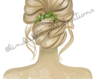Blonde Up Style with Shamrocks