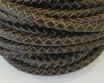 6mm Genuine Bolo Leather, Braided Leather, Dark Brown Leather