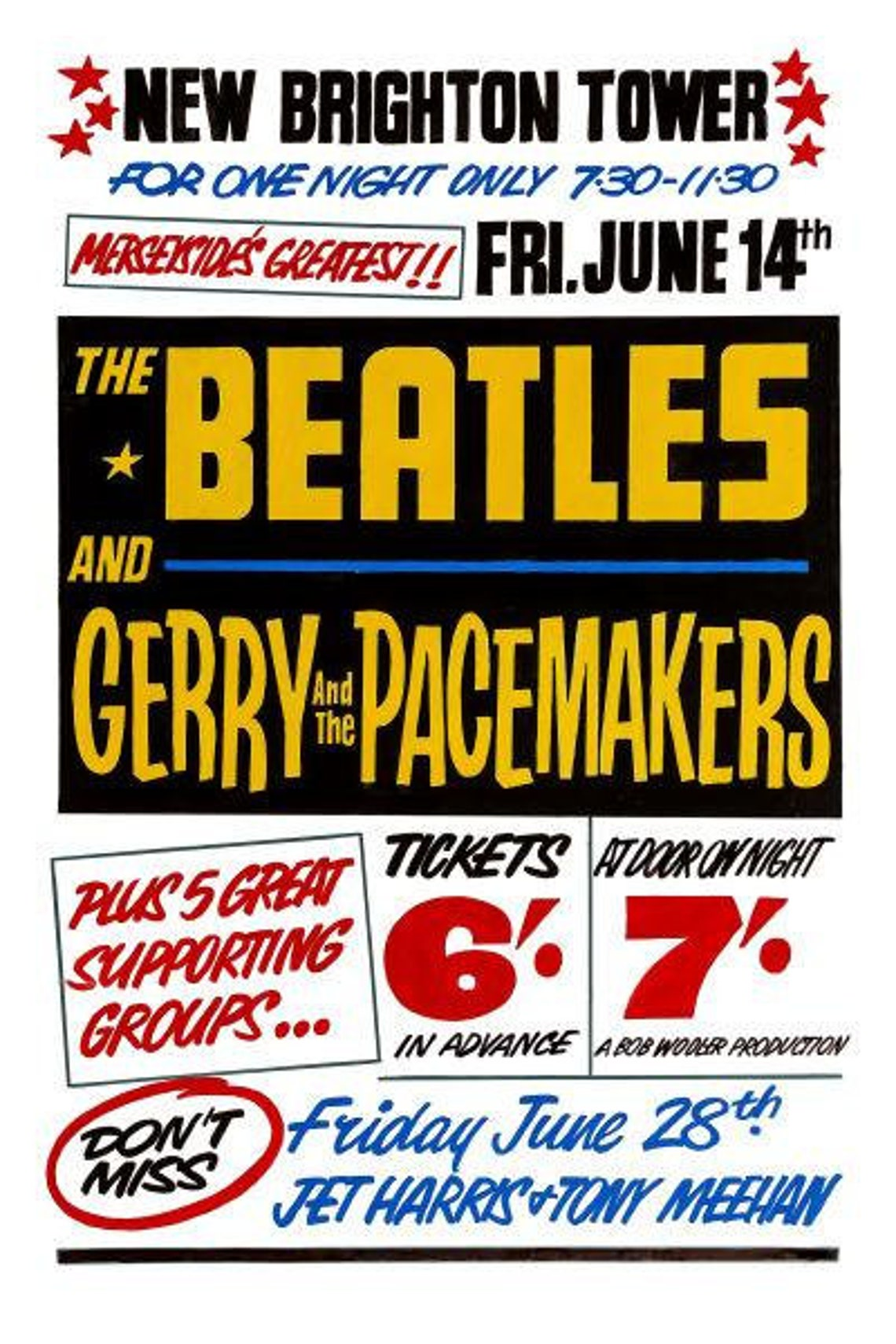 The Beatles Poster Tower Ballroom Concert A4 Print Vintage image 1