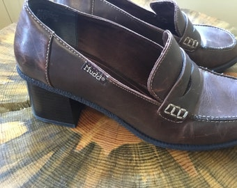 9f22c959e9a Women s Y2k Vintage Mudd Chunky Heeled Slips Size 8.5 Brown Leather All Man  Made Materials