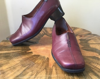 6e168d46f7e 90s Like New Vintage Deal Mephisto Air Relax Brown Leather Square Toe Med  Chunky Heel Loafers Shoes Size 4.5 US 7