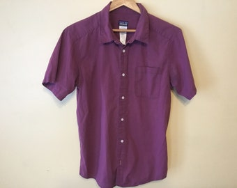 d0ef51f5 Late 90s Vintage Patagonia Button Up Sz Arg Flat Color Purple Short Sleeve  Organic Cotton