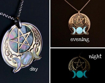 Wicca pendant in 925 silver and 24 carat gold plated, black and white natural mother of pearl end luminescent moons