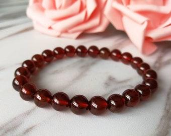 Beautiful Orangy Red 7MM Natural Garnett Gemstones Beaded Bracelet Gift Bracelet January Birthstone