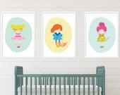 Pastel Nursery Digital Print, Set of 3 Printable art, Nursery Print, Nursery printable, Girls Bedroom Wall Art, Girls Nursery