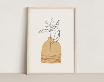 Abstract Line Art Vase Print - Mustard