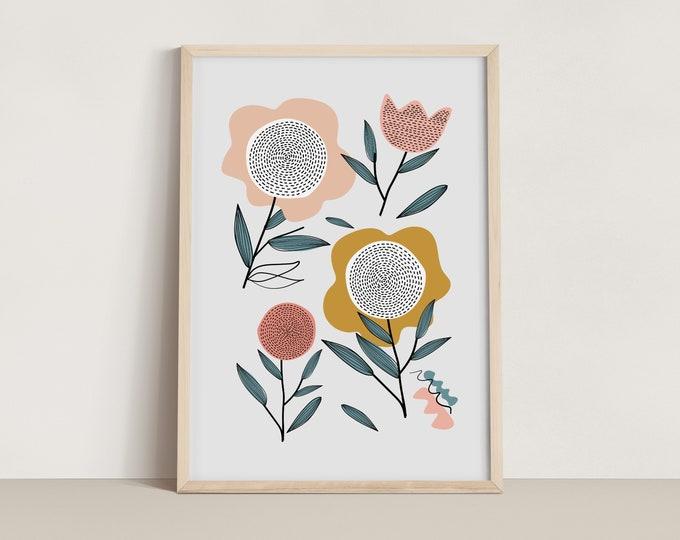 Featured listing image: Retro Florals Print