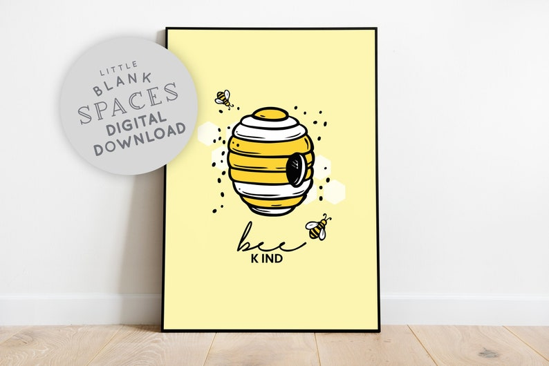 Bee Kind Wall Art  Printable Wall Art Wall Hanging image 0