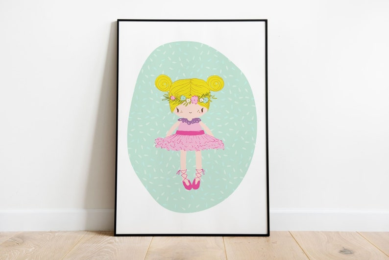 Pink Ballerina Digital Print Printable art Ballerina Nursery image 0