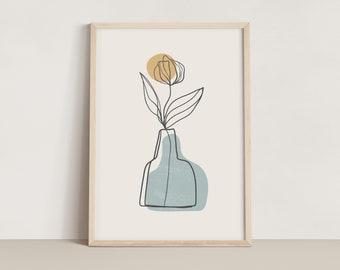 Abstract Line Art Vase Print - Blue