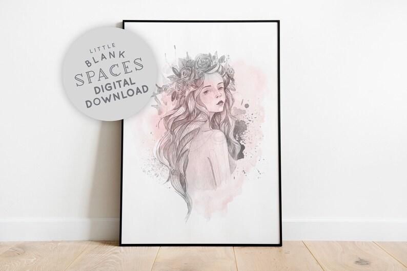 Boho Women Wall Art Watercolour Floral Art Print Printable image 0