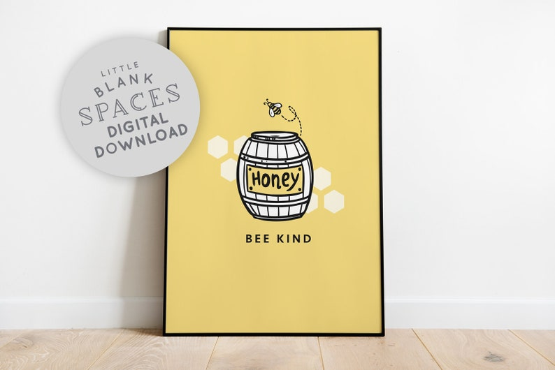 Bee Kind Inspirational Quote Minimalist Wall Art Printable image 0