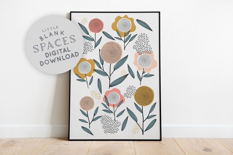 Retro Flower Print  PRINTABLE WALL ART Digital Download image 0