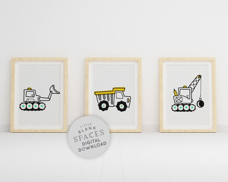Construction Digger Printable Wall Art  Colour In image 0