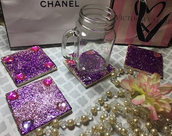 4 glitter coasters with heart gems