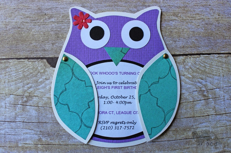 Owl Birthday Invitations Woodland Party Forest