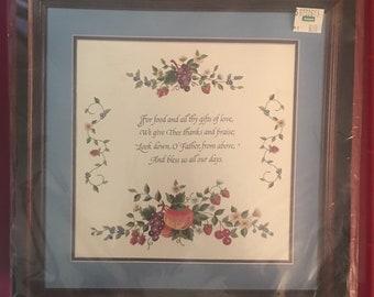 Elegant Fruit Sampler stamped embroidery kit