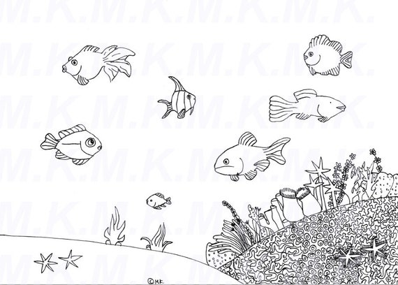 ausmalbild korallenriff meer handgemalt  etsy