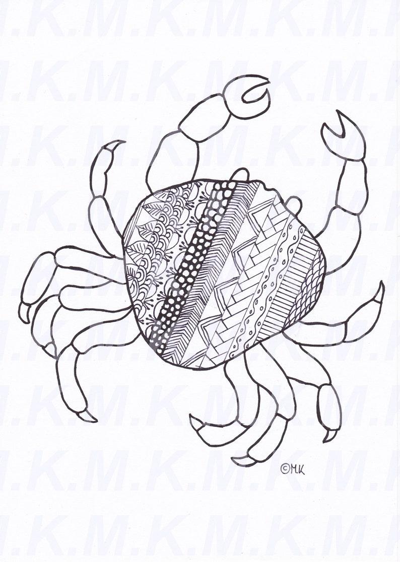 Ausmalbild Zentangle Krabbe Meer Handgemalt