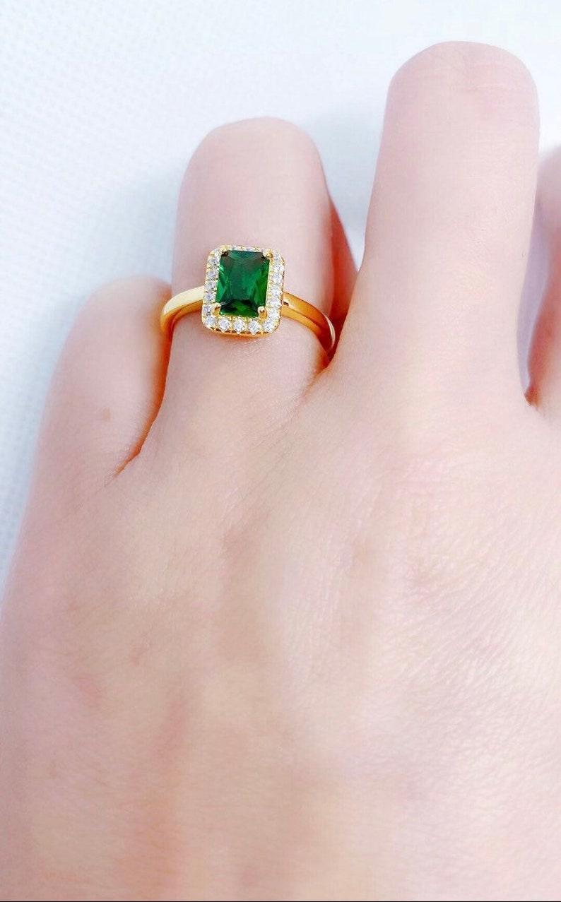 14k Gold Sterling Silver Emerald Cut Emerald Ring  6x8mm Emerald Birthstone Stacking Ring  May Birthstone Ring  Designer Silver Ring