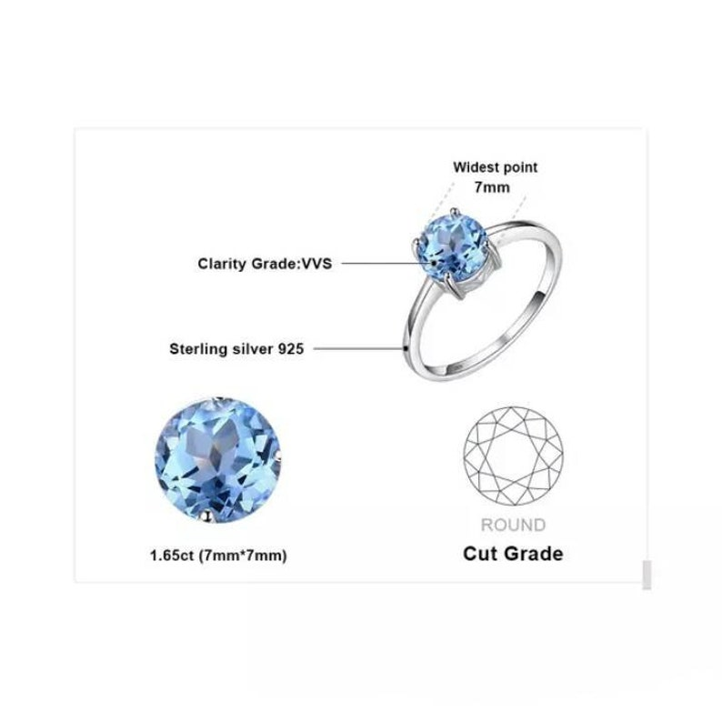 solid 925 sterling silver swiss blue topaz gemstone women statement wedding engagement anniversary proposal ring jewellery ring to show love