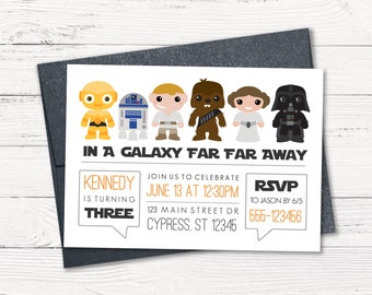 Star Wars Invitation Birthday Party Far Away Galaxy Out Of Space Droids Vader Luke Leia Chewy Printable Digital Invite