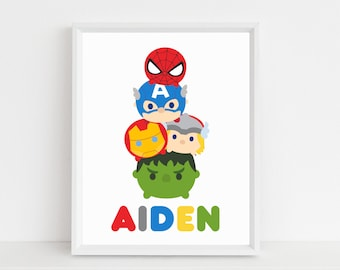 Tsum Art Print Disney Tsums Avengers Super Heroes Personalized Playroom Kids Nursery Room Decor Wall Digital Printable