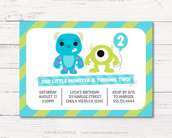Monsters Inc Invitation Mike Sully Birthday Baby Boy