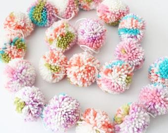 Pom Pom Garland, Yarn Pom Poms, Rainbow Soft Multi Color, Pink Green Aqua Purple Party Room Decor, Custom Colors, Made to Order