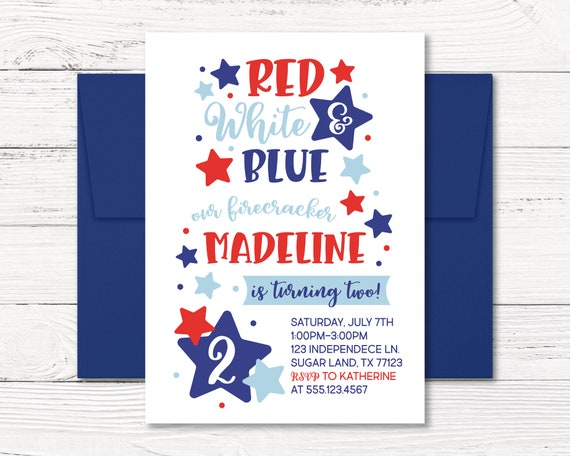 Fourth Of July Invitation 4th Birthday Red