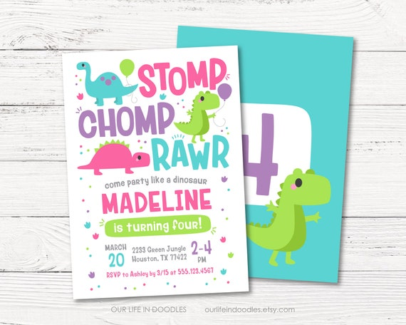dinosaur invitation dinosaur girl birthday invitation stomp chomp