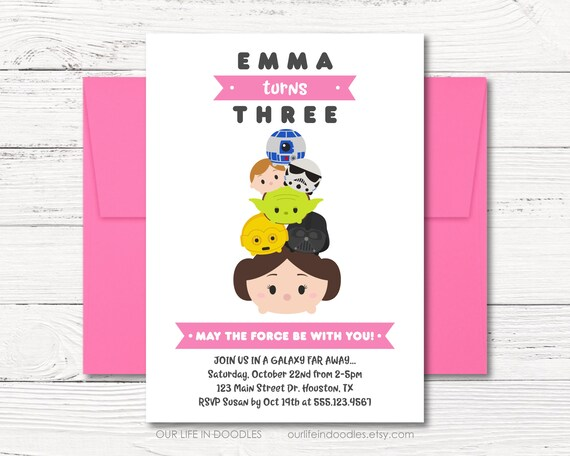 Star Wars Invitation Tsum Tsums Birthday Disney Princess Leia Droids Pink Party Digital Printable Invite