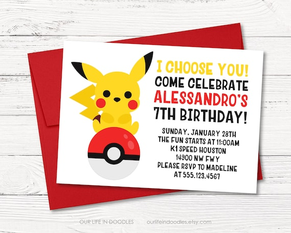 Pikachu Invitation Pokeball Birthday