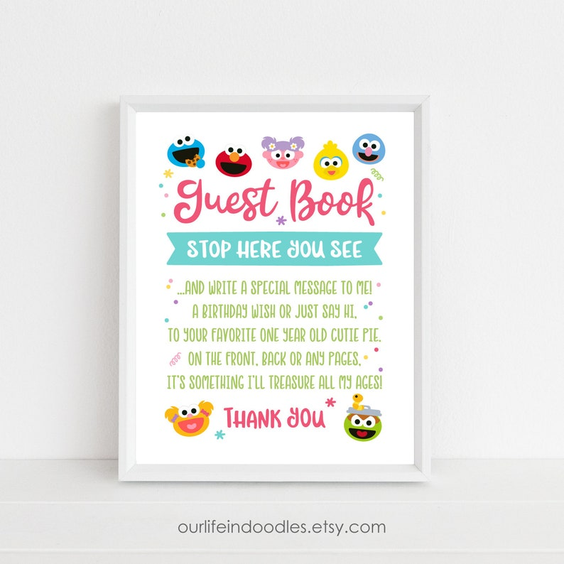 Sesame Street Guest Book Sign First Birthday Party