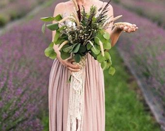 Macrame Wedding Bouquet Wrap for the Boho Bride // Boho Wedding Decor // Bohemian Wedding Bouquet Wrap // Plant Decor