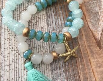 Gold Starfish Charm & tassel Bead bracelet set