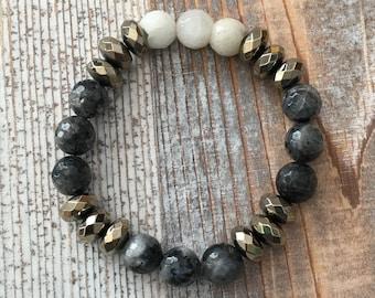 Hematite Quartz Labradorite bracelet