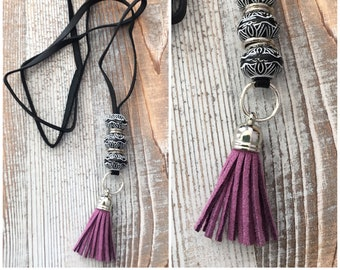 Leather necklace suede tassel