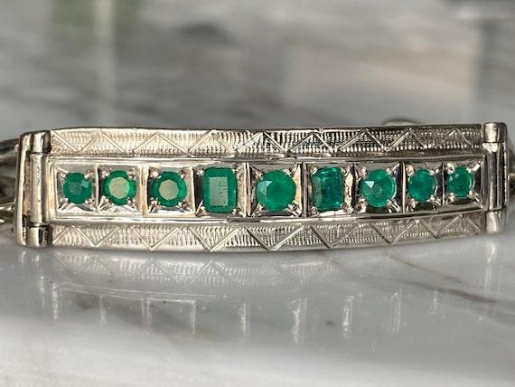 Men bracelet, silver 925 and genuine colombian emeralds, 5.1 carats