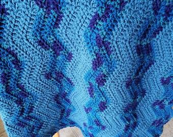Ripple Crochet blanket, Afghan throw